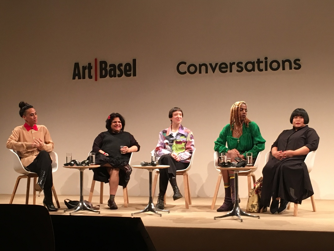 """Bodyworks: Performance and Practice"" panel at Art Basel. From left to right: Wu Tsang, Sonia Khurana, Victoria Sin, Juliana Huxtable, and Melati Suryodamo."