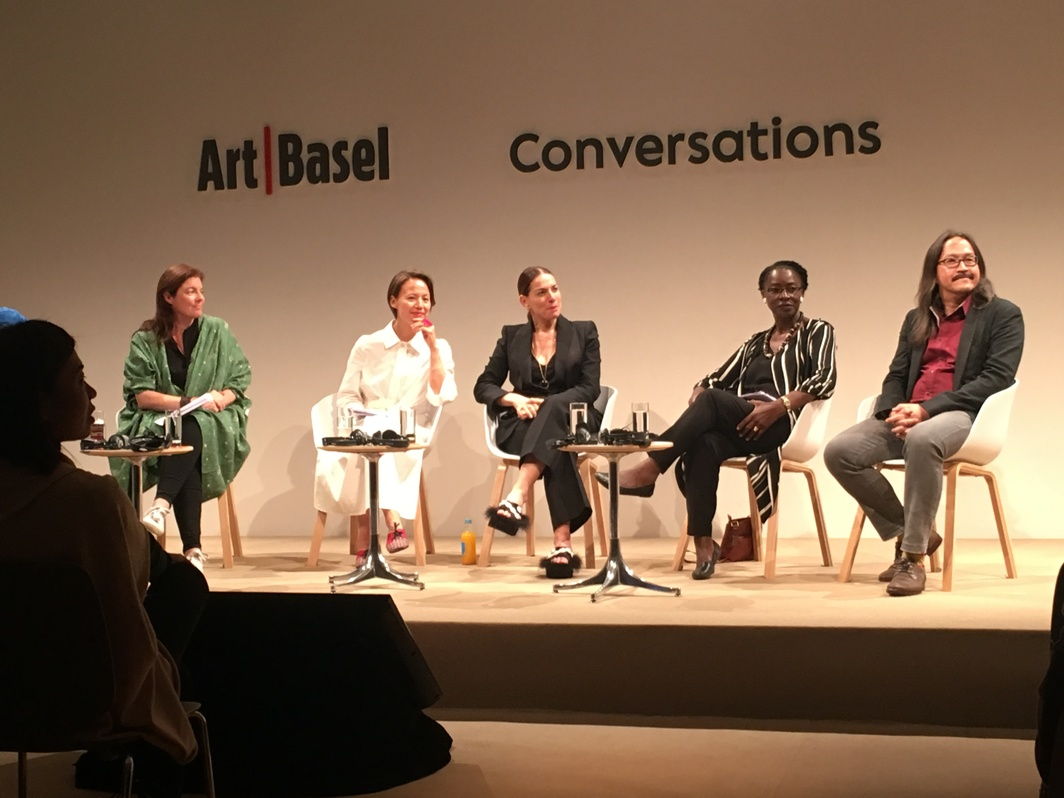 """Institutional Practice Is Creative Work: A Roundtable on Leadership"" panel at Art Basel. From left to right: Antonia Carver, Claire Hsu, Yana Peel, Doreen Sibanda, and Pawit Mahasarinand."
