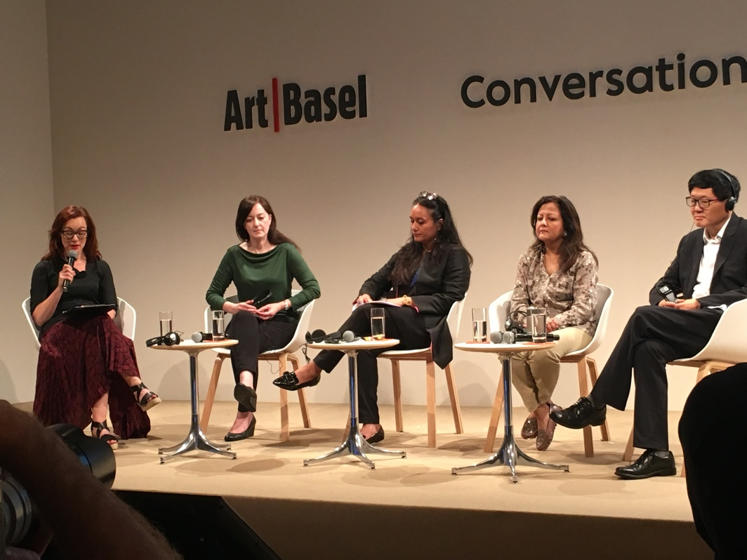 """Spaces of Interaction: Developing Platforms and Making Communities"" panel at Art Basel. From left to right: Natalie King, Anne Barlow, Qudsia Rahim, Sangeeta Thapa, and Lu Peng."