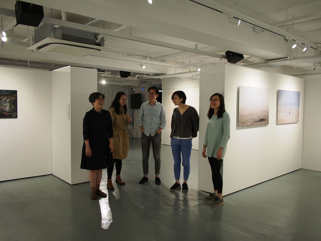 Wyng Foundation team at their new exhibition space: from left to right: Vivian Fung, Monica Fu, Samuel Wong, Tse Lam Hei, and Luna Chan.