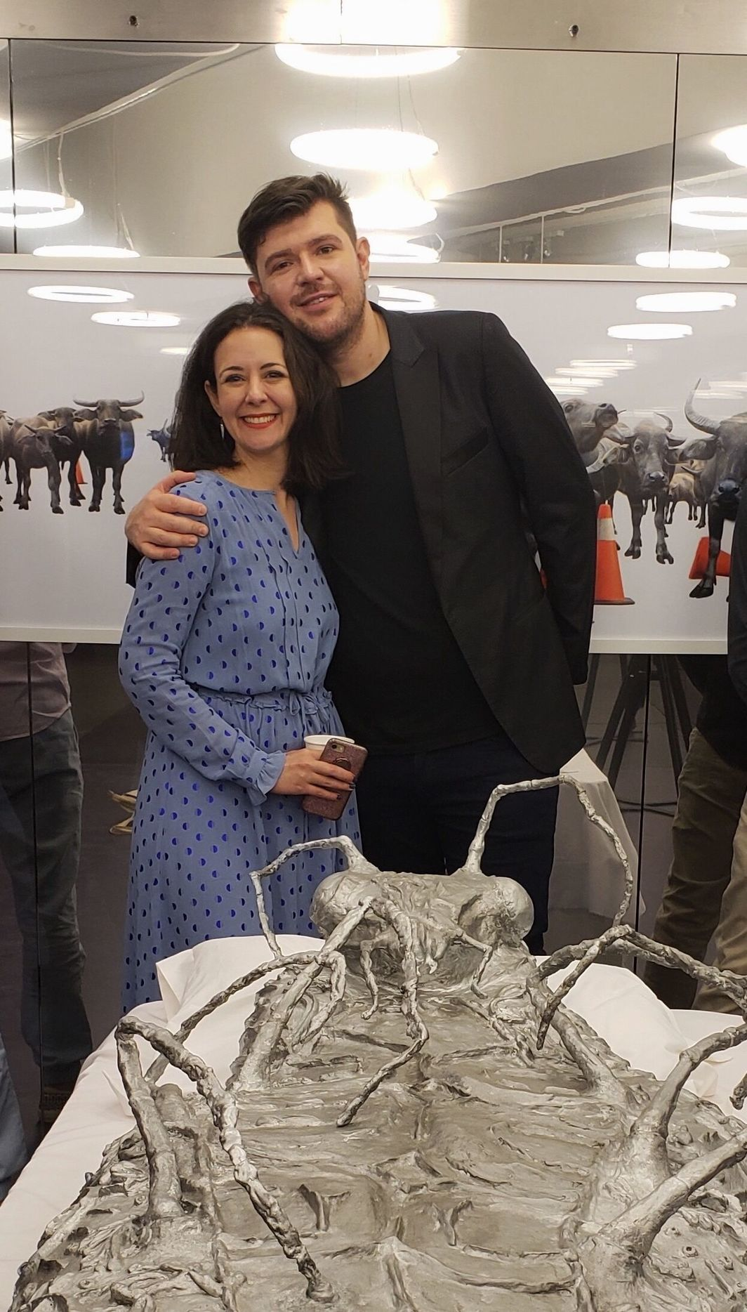 Claire Shea and Cosmin Costinas in front of Candice Lin's Metamorphosis in Space (2013) at Para Site Gallery. Photo credit: Kee Foong.