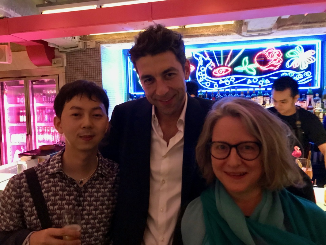 Artist Tao Hui, dealer Mathieu Borysevicz, and dealer Esther Schipper. Photo: Alvin Li.