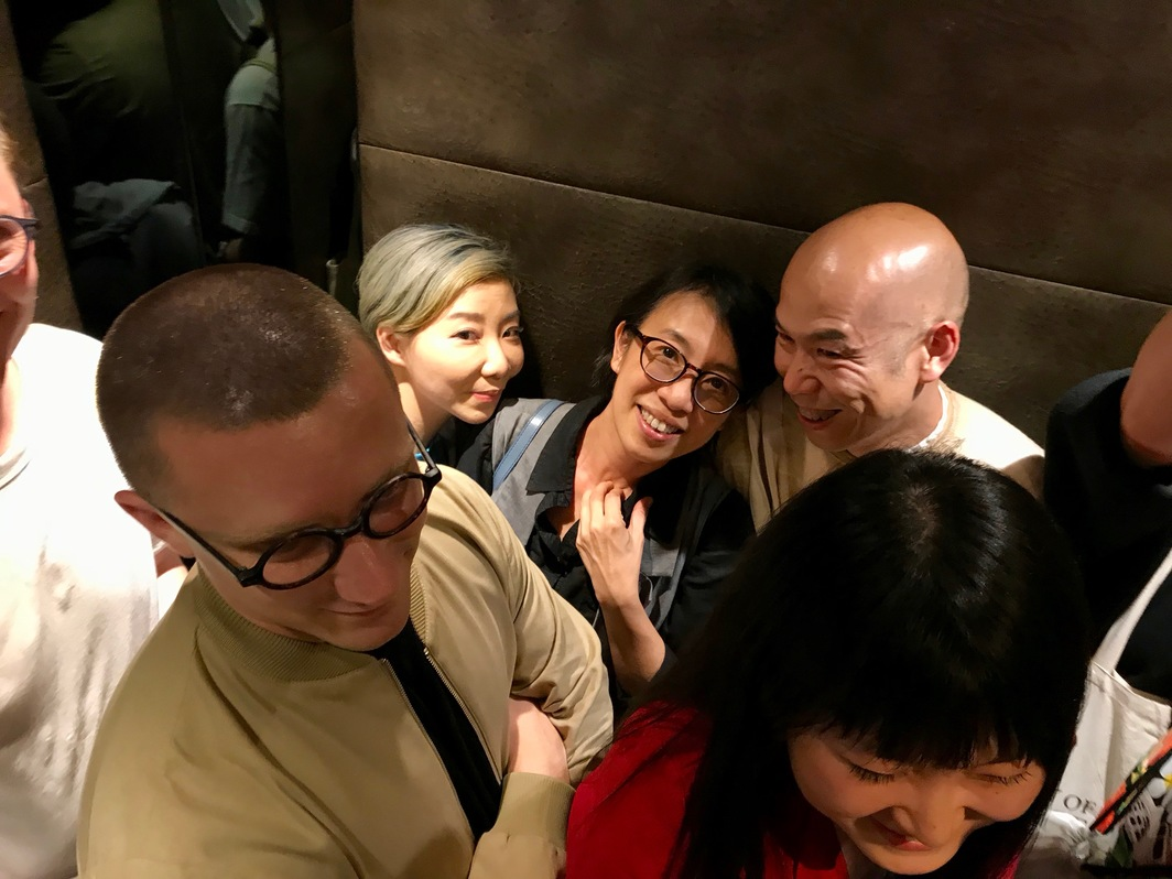 Curator Robin Peckham, K11 Art Foundation artistic director Venus Lau, artists Sara Wong and Leung Chi Hom, and artist Shuang Li (clockwise). Photo: Alvin Li.