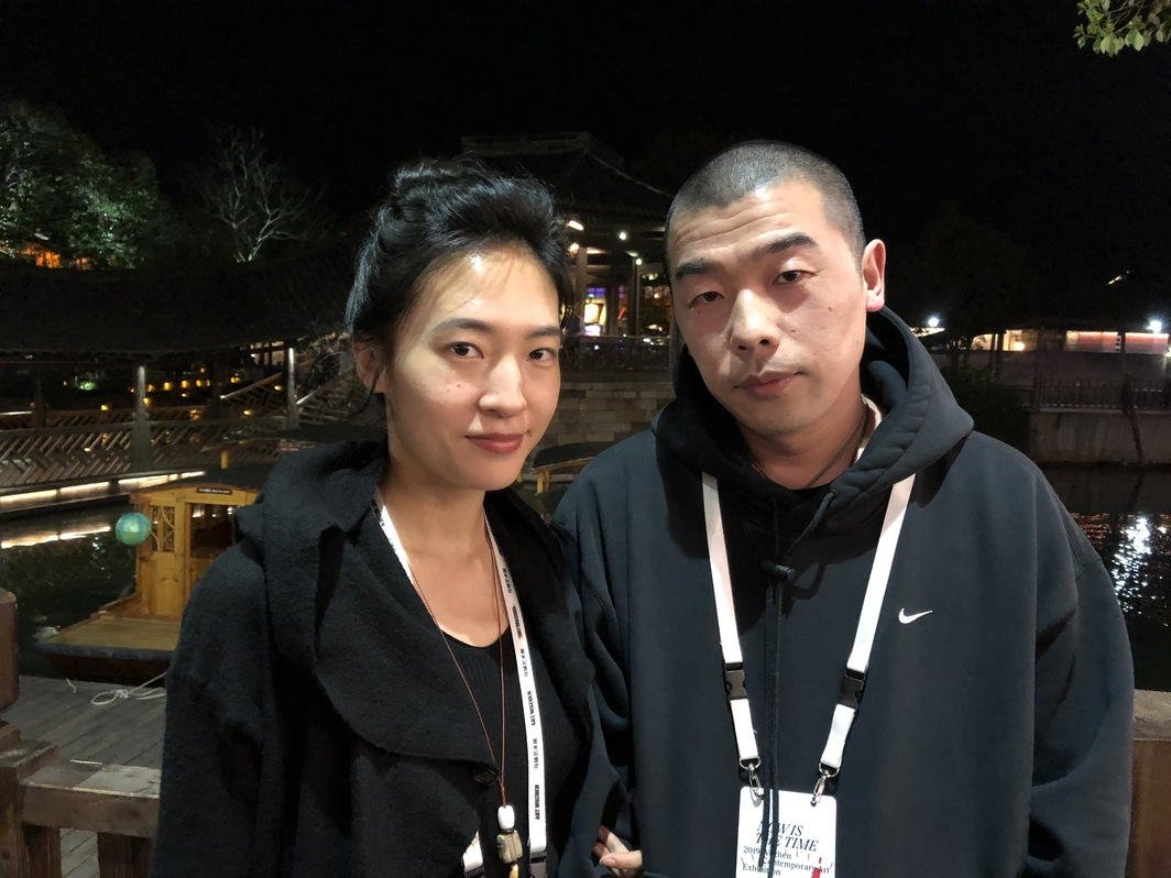 Artists Yang Bodu and Zhao Zhao.