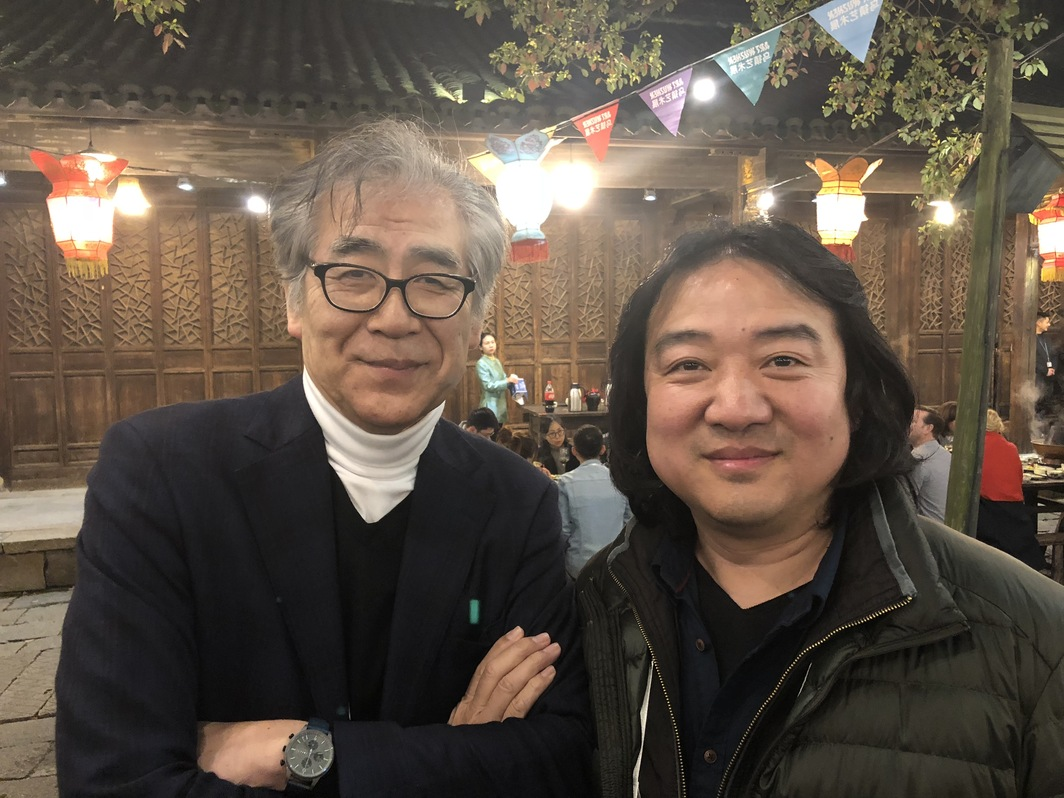 Mori Art Museum Director Fumio Nanjo and Artist Song Dong.
