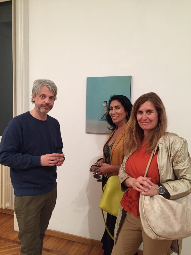 Artist Ivan Seal with Maria Selena Rudolf and Gabriela Spector.
