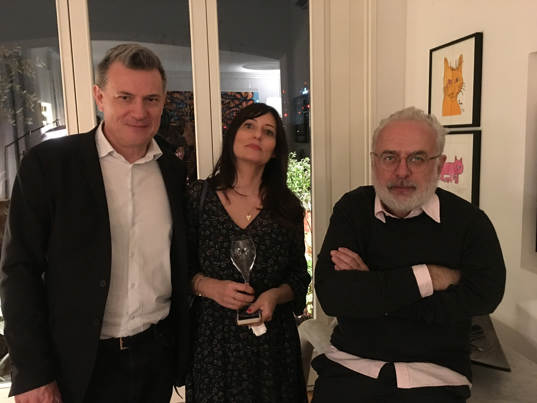 Robert Pisoni, director Sky Arte, his wife Maria Cristina Cipriani and Francesco Bonami, art critic and curator.