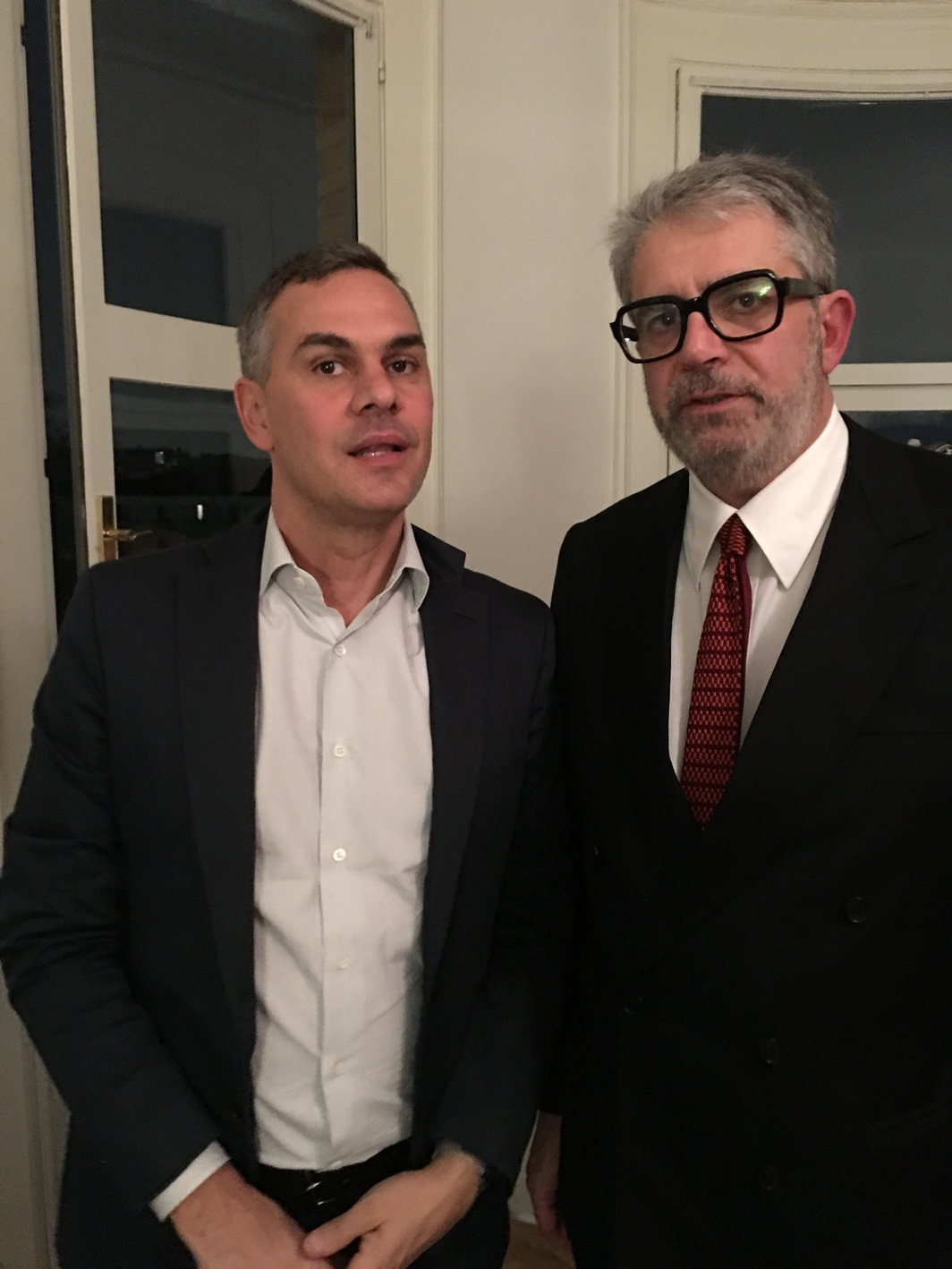 Massimiliano Gioni, Artistic Director Fondazione Trussardi and Associate Director and Director of Exhibitions at the New Museum of Contemporary Art, New York, with gallerist Gio Marconi.