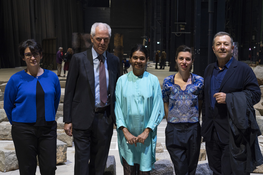Cocurator of the show and director at Bombas Gens Centre d'Art Nuria Enguita; chairman of Pirelli HangarBicocca and executive vice chairman and CEO of Pirelli Marco Tronchetti Provera; artist Sheela Gowda; cocurator of the show and assistant curator of Pirelli HangarBicocca Lucia Aspesi and artistic director of Pirelli HangarBicocca Vicente Todolí.