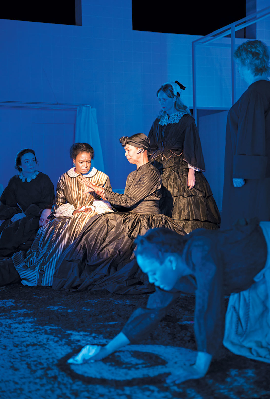 Performance view of Jackie Sibblies Drury's Marys Seacole, 2019, Claire Tow Theater, Lincoln Center, New York, February 8, 2019. From left: Miriam (Ismenia Mendes), Mary Seacole (Quincy Tyler Bernstine), Duppy Mary (Karen Kandel), May (Lucy Taylor), Mamie (Gabby Beans), and Merry (Marceline Hugot). Photo: Julieta Cervantes.