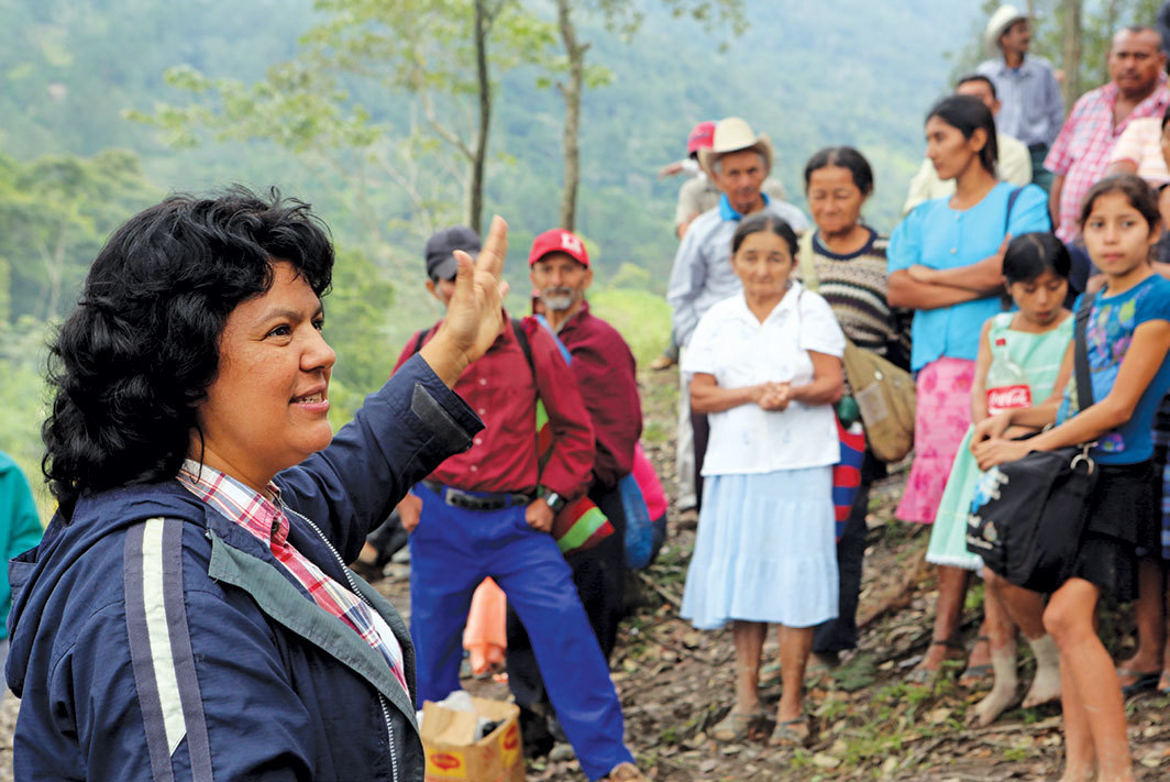 Berta Cáceres with demonstrators against the Agua Zarca Hydroelectric project, Rio Blanco region, Honduras, January 27, 2015. Photo: Tim Russo/Goldman Environmental Prize via AP.