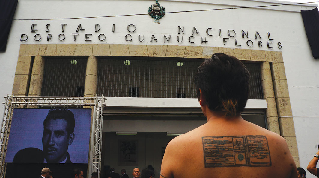 Benvenuto Chavajay with his tattoo of Doroteo Guamuch's photo ID at the newly renamed Estadio Nacional Doroteo Guamuch Flores, Guatemala City, 2016.