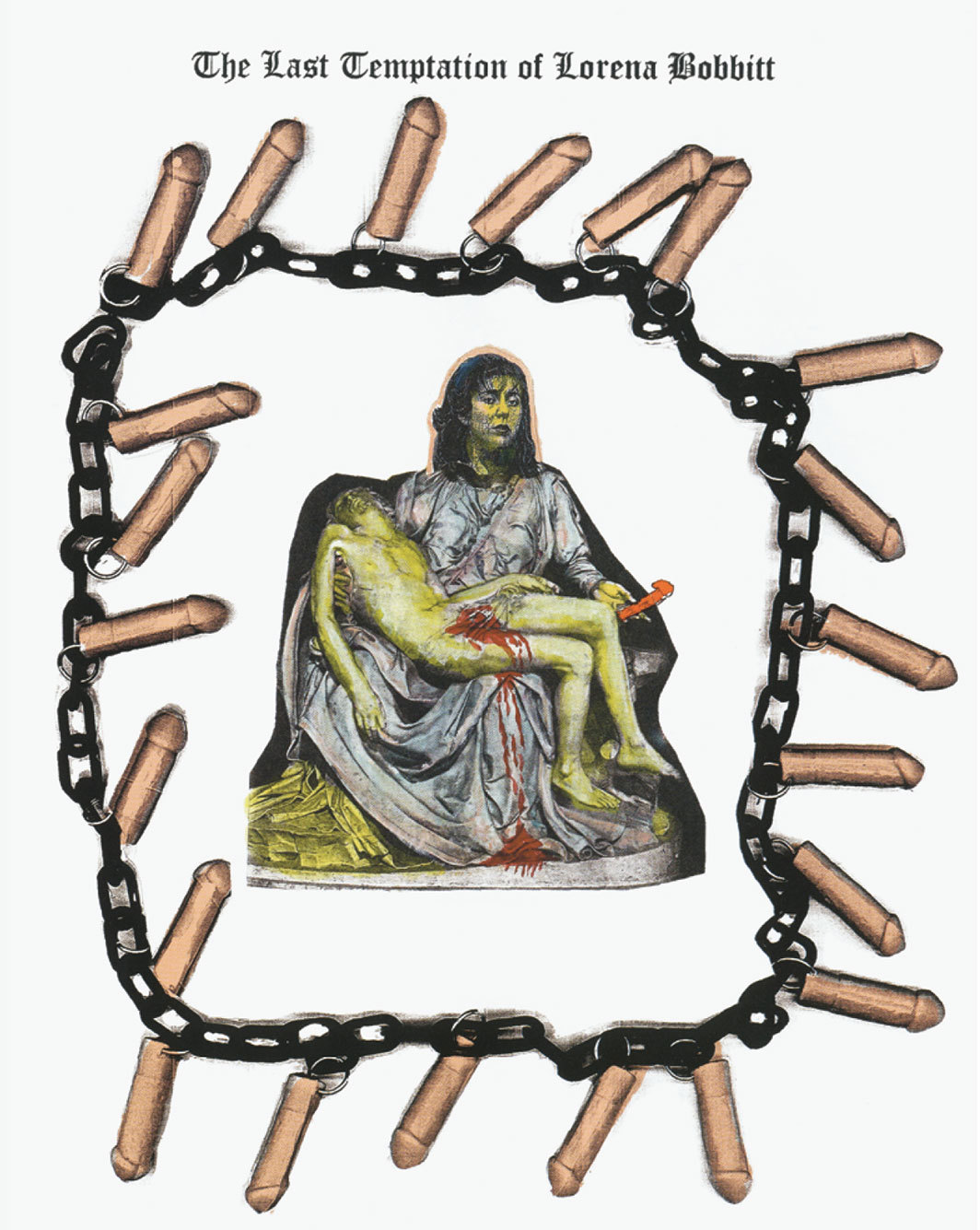 "Mary Beth Edelson, The Last Temptation of Lorena Bobbitt, 1993, watercolor and ink on photocopy, plastic, plastic chain, 17 × 11""."