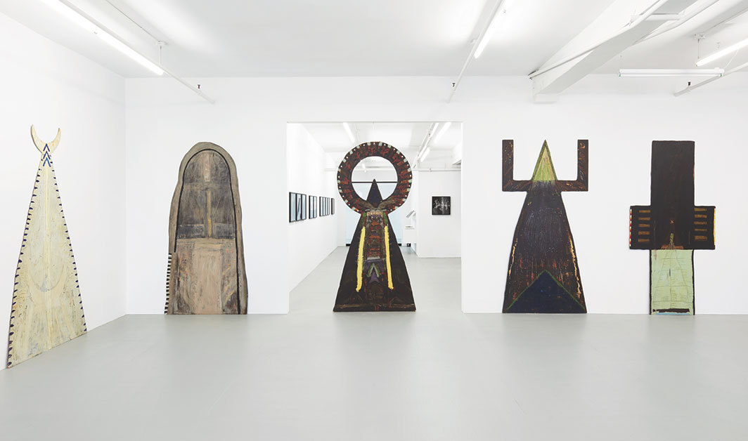 "View of ""Mary Beth Edelson: Shape Shifter,"" 2019, David Lewis Gallery, New York. Photo: Pheobe d'Heurle."