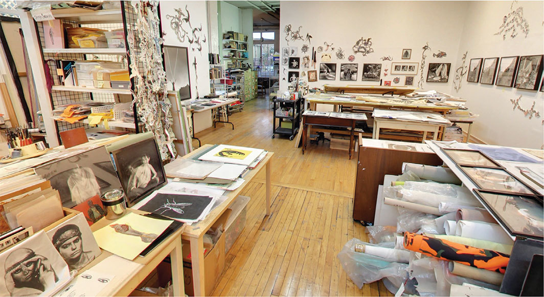 Mary Beth Edelson's studio, SoHo, New York, 2018. Photo: Feminist Institute Digital Exhibit Project/Google Arts & Culture.