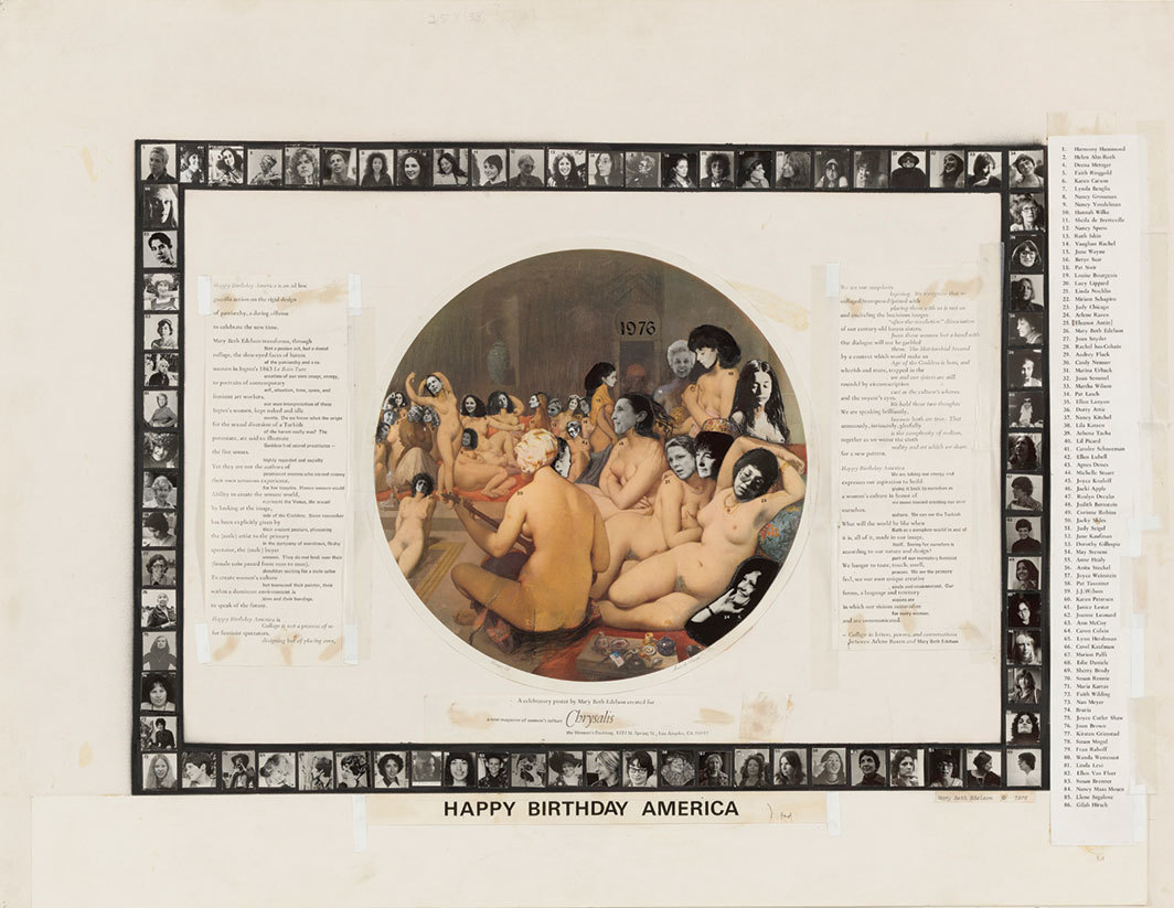 "Mary Beth Edelson, Happy Birthday America, 1976, gelatin silver prints, crayon, tape, typewriting, and transfer type on printed paper mounted on paper, 24 × 31 1⁄4""."