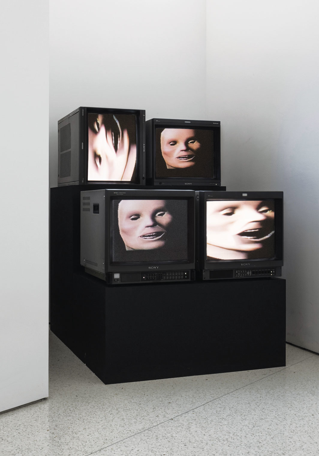 Gretchen Bender, Wild Dead I, II, III (Danceteria Version), 1984, two-channel video, CRT monitors, color, sound, 6 minutes 50 seconds. Soundtrack by Stuart Argabright and Michael Diekmann. © The Gretchen Bender Estate and OSMOS