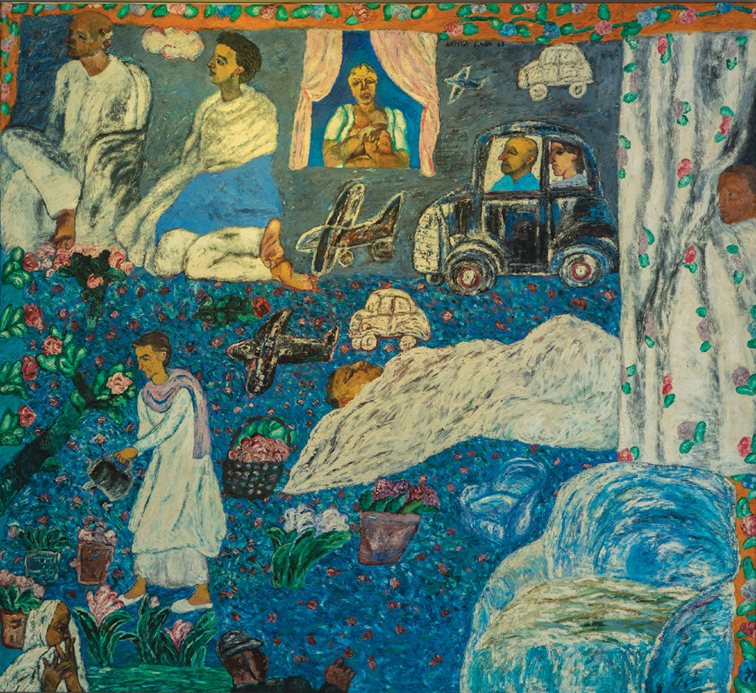 "Arpita Singh, Munna Apa's Garden, 1989, oil on canvas, 62 1⁄4 × 68 1⁄4""."