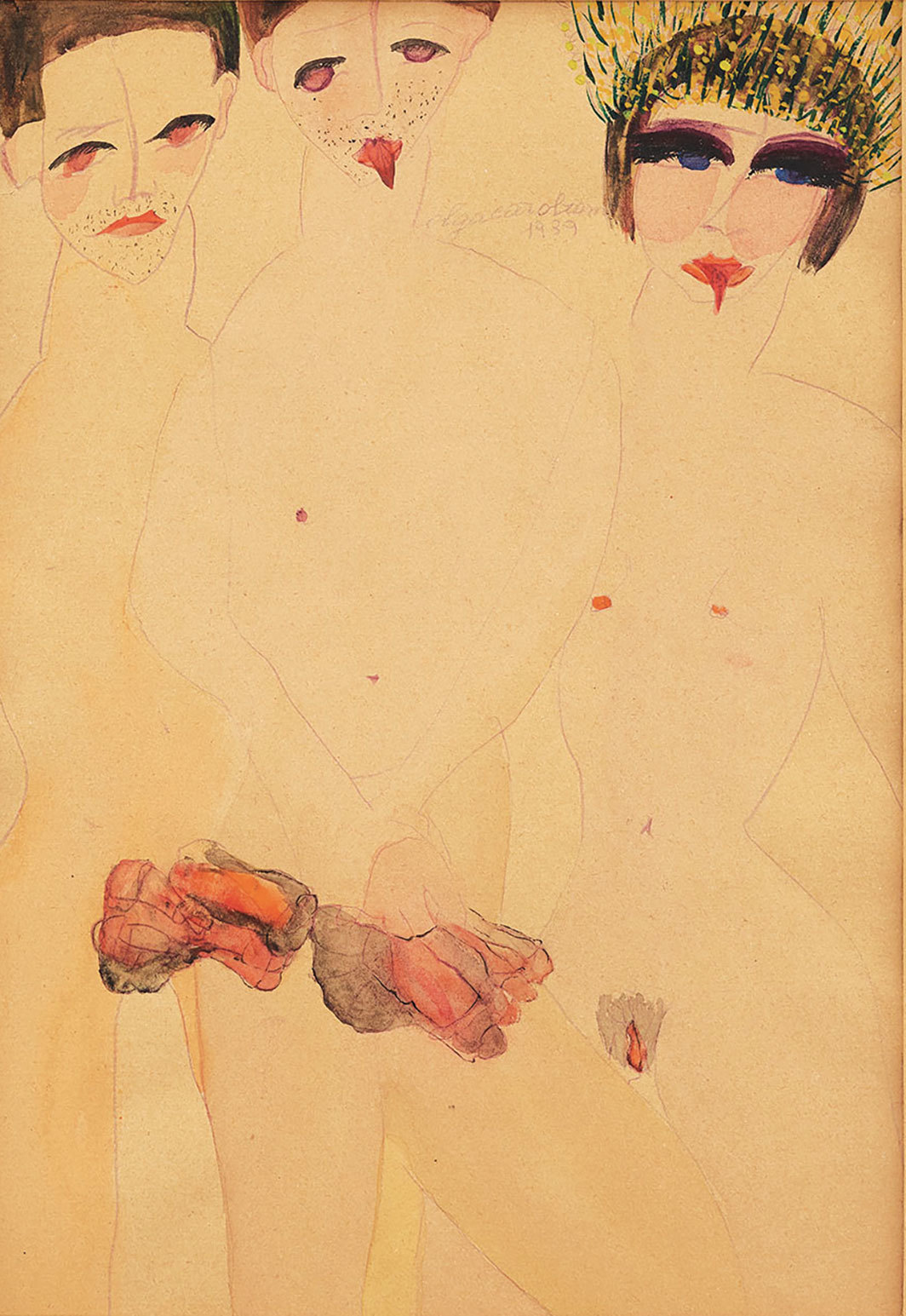 "Carol Rama, Appassionata (Marta e i marchettoni) (Passionate [Marta and the Rent Boys]), 1939, mixed media on paper, 13 × 11""."