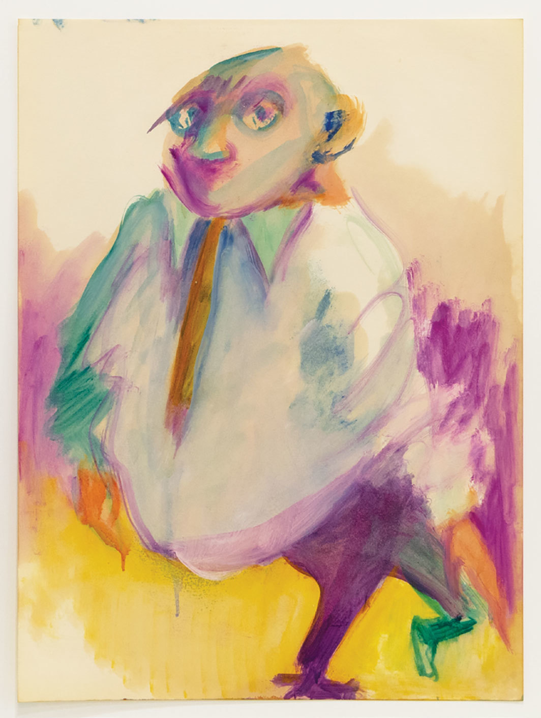 "Vivian Browne, Little Men #70, ca. 1967, acrylic on paper, 23 3⁄4 × 17 3⁄4"". From the series ""Little Men,"" 1966–72."