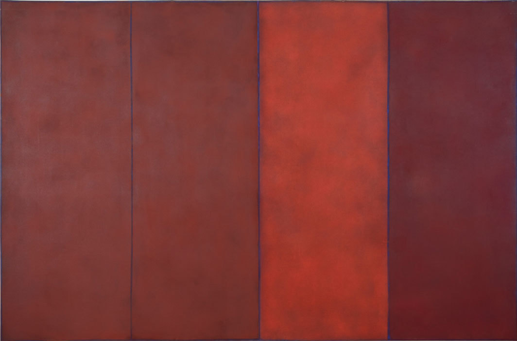 "Natvar Bhavsar, BEGIN, 1968, powdered pigment and acrylic medium on linen, 8' 1 1⁄2"" × 12'."