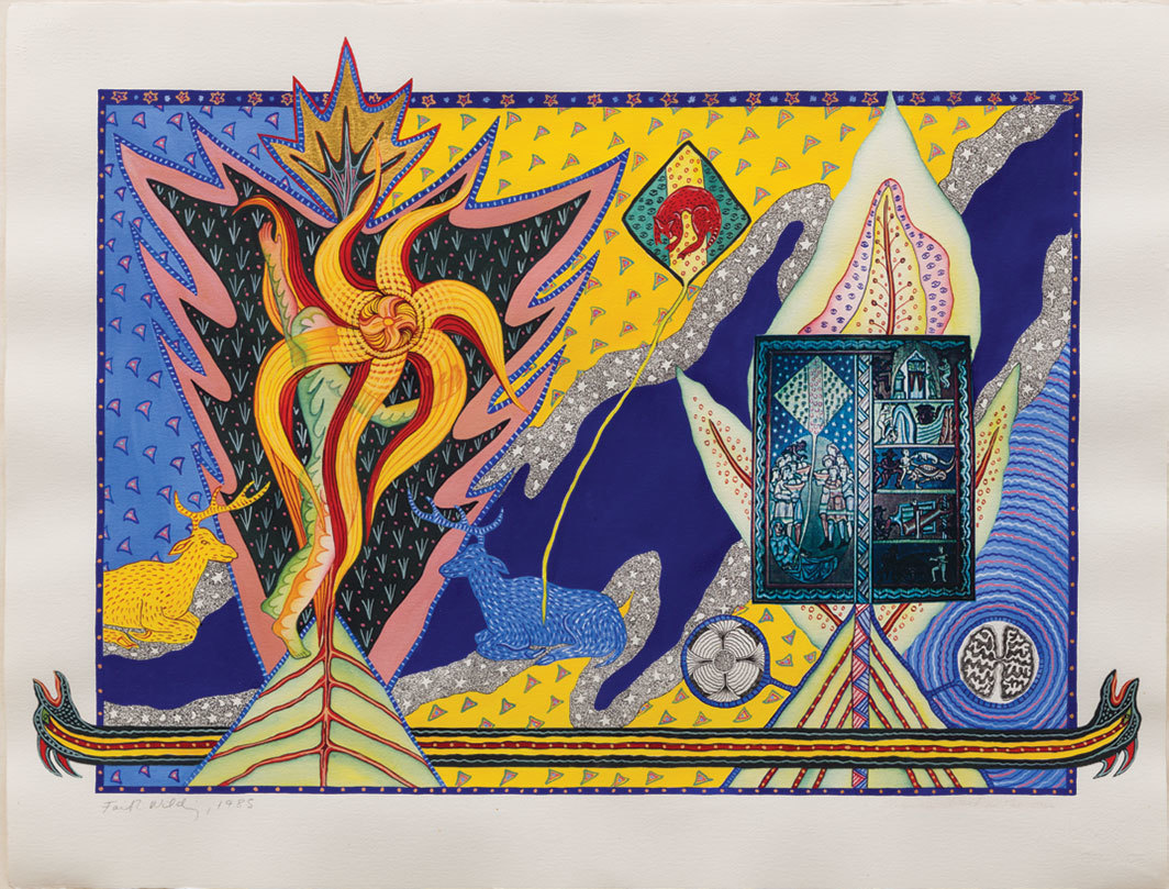 "Faith Wilding, Woman Clothed in the Sun, 1985, mixed media, 22 1⁄4 × 30""."