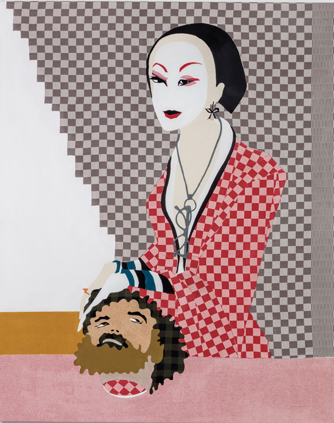 "Lara Schnitger, Judith, 2019, fabric on canvas, 70 × 48""."