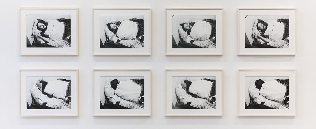 "Mladen Stilinović, Artist at Work, 1978, eight C-prints, each 11 × 15 1⁄8""."