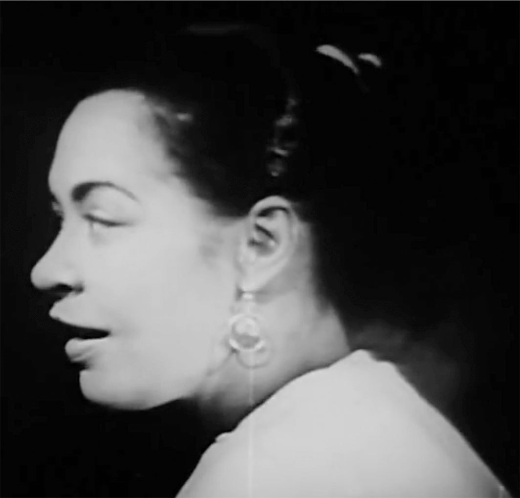 "*Video capture from Billie Holiday's performance of ""Fine and Mellow,"" 1939, on the CBS TV series _Seven Lively Arts,_ 1957.*"