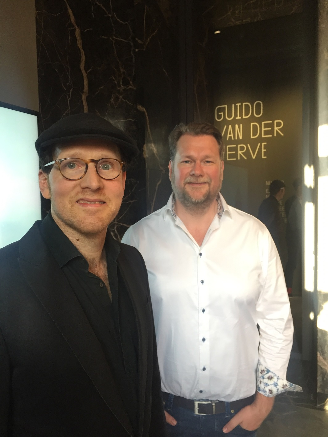 Artist Guido van der Werde with Fluemtum founder and collector Markus Hannebauer.