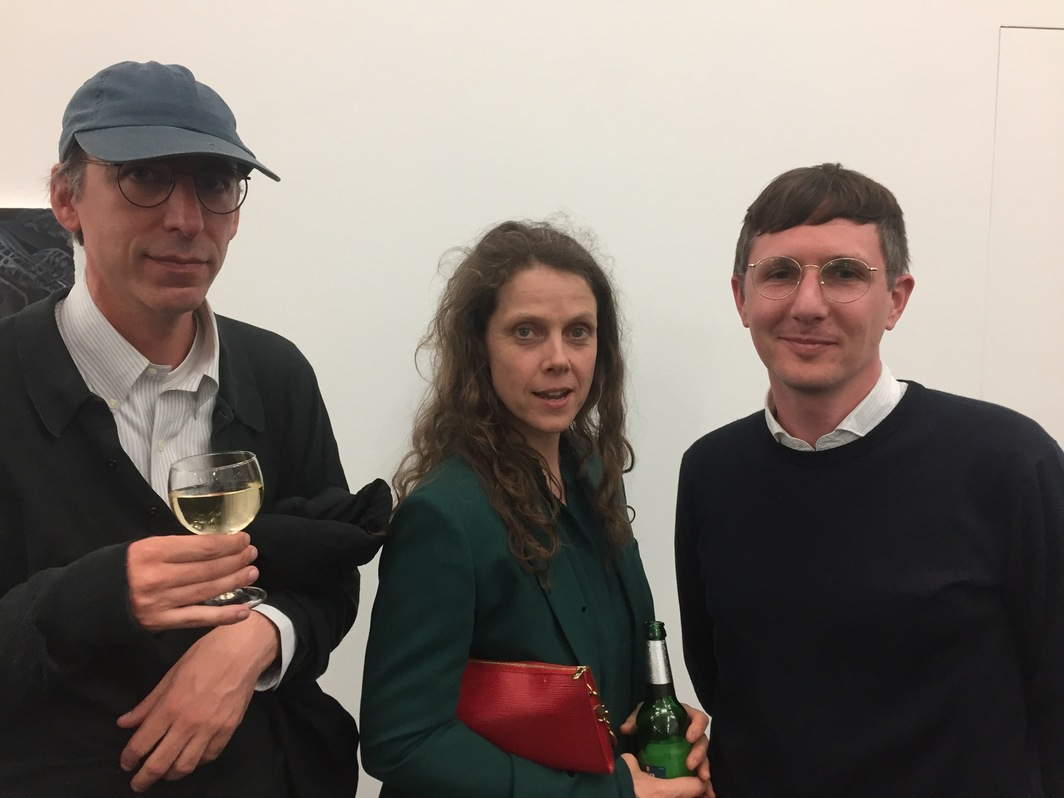 Artists Jonas Lipps and Amelie von Wulffen with dealer Daniel Herleth.
