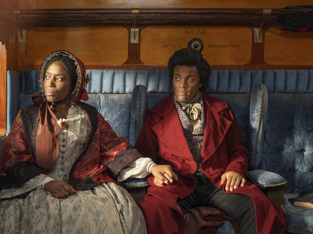 Isaac Julien, Lessons of the Hour, 2019, ten screen video installation, 35 mm and 4K video, color, sound, 28 minutes 46 seconds. Anna Murray Douglass and Frederick Douglass (Sharlene Whyte and Ray Fearon).