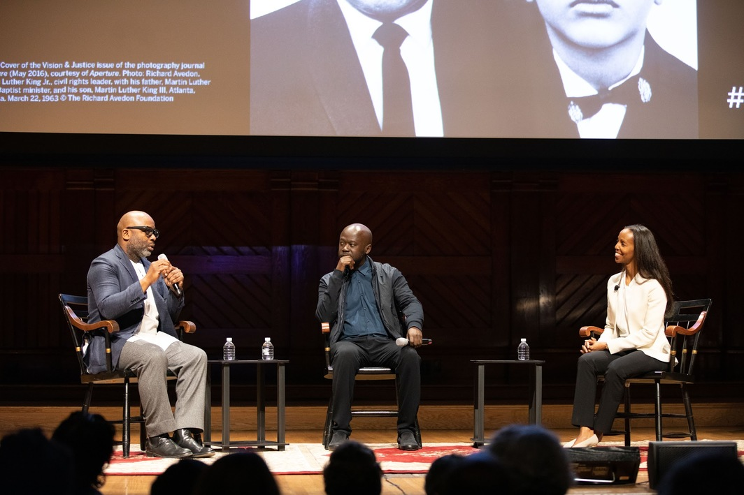 Theaster Gates, David Adjaye, and Sarah Lewis. Photo: Evgenia Eliseeva.