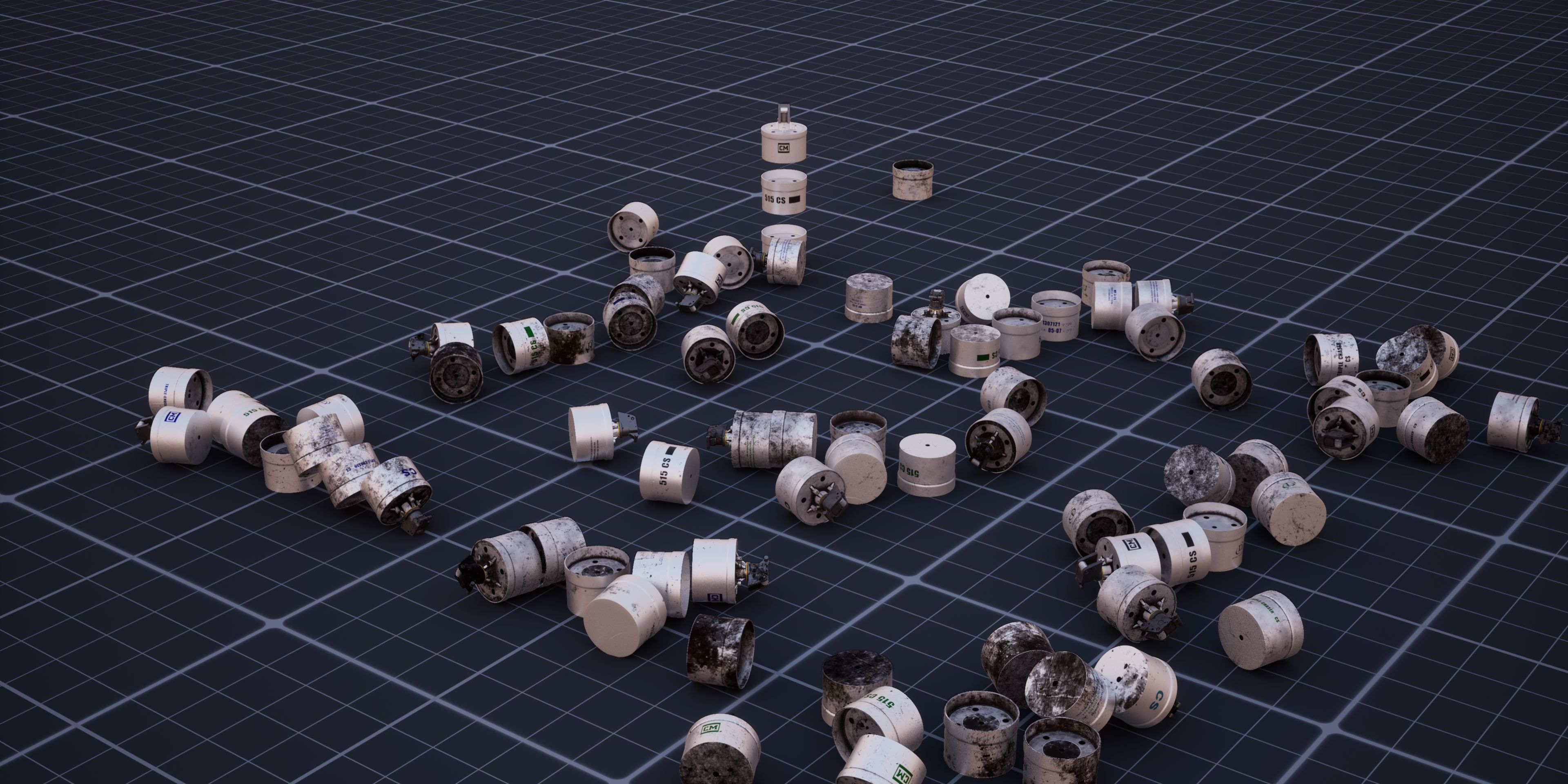 Forensic Architecture, Triple-Chaser, 2019, video, color, sound, 10 minutes 24 seconds. 3-D models of the Triple-Chaser grenade and images of used canisters, distributed in digital space, help train a computer vision classifier.
