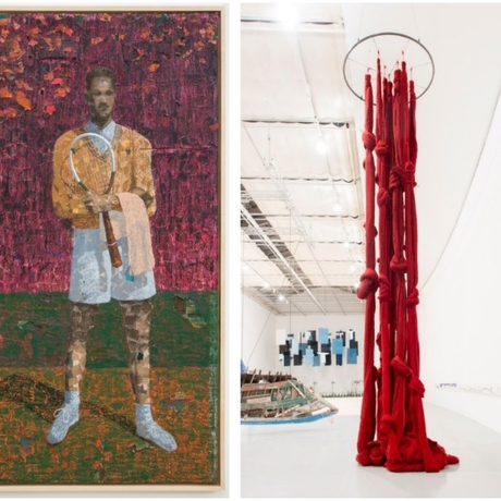 Derek Fordjour's Worst to Be First, 2019, and Cecilia Vicuña's Quipu Gut, 2017. Photo: the Pérez Art Museum Miami.