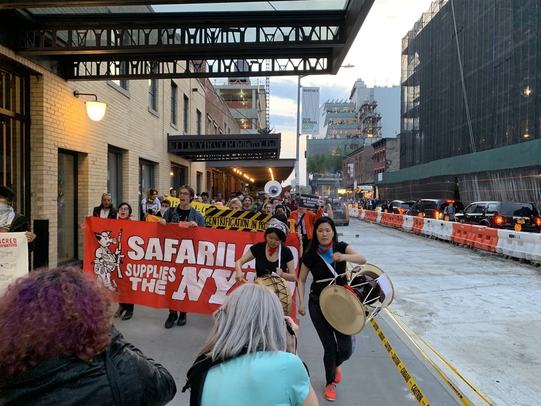Activists marching from the Whitney Museum to West Twelfth Street. Photo: Lauren Cavalli.