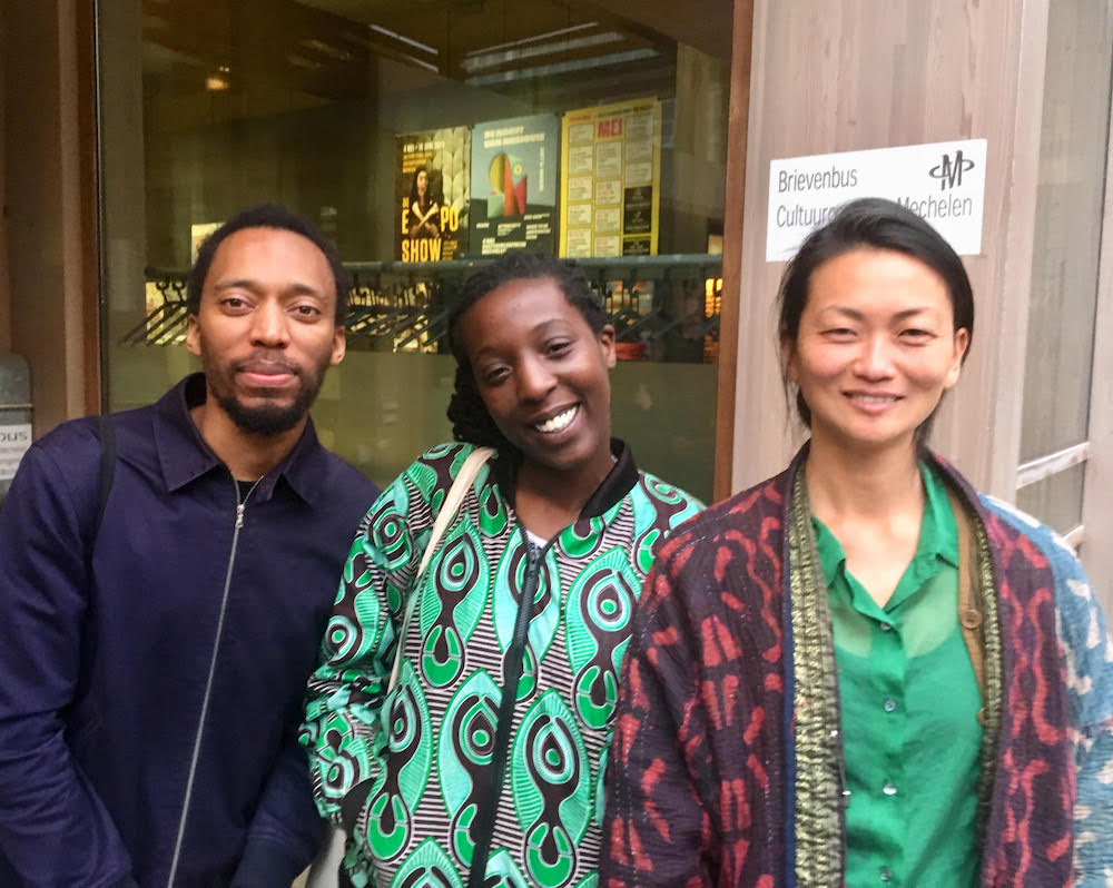 Artists Christian Nyampeta, Laura Nsengiyumva, and Sara Sejin Chang. Photo: Joachim Ben Yakoub.
