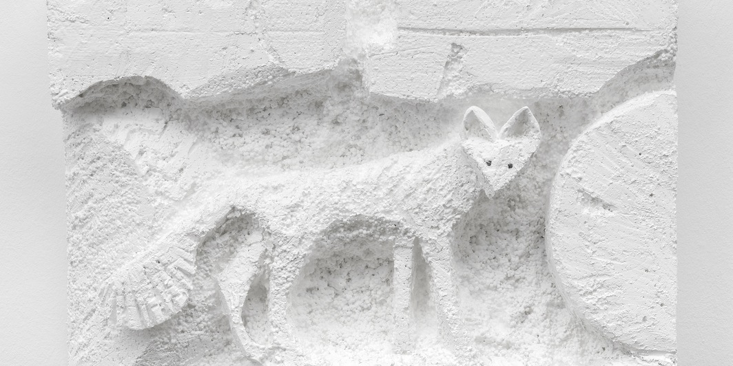 "Lin-May Saeed, Small Fox Relief, 2019, Styrofoam, paint, steel nails, 16 x 23 x 5""."