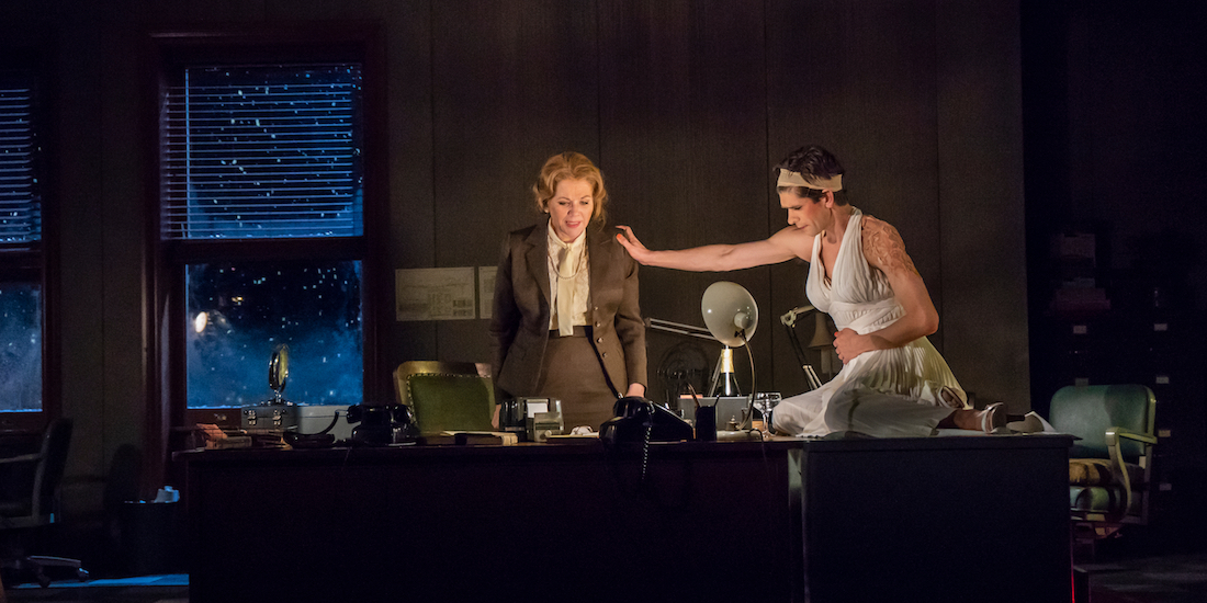 Anne Carson, Norma Jeane Baker of Troy, 2019. Performance view, The Shed, New York, April 9, 2019. Renée Fleming and Ben Whishaw. Photo: Stephanie Berger.