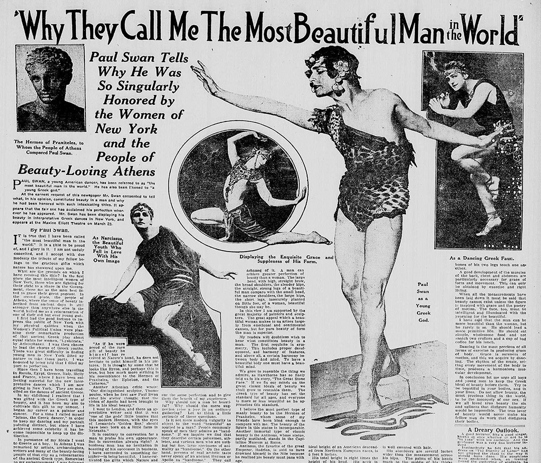 "Page detail of the Richmond (VA) Times-Dispatch, March 15, 1914. ""Why They Call Me the Most Beautiful Man in the World."" Paul Swan."