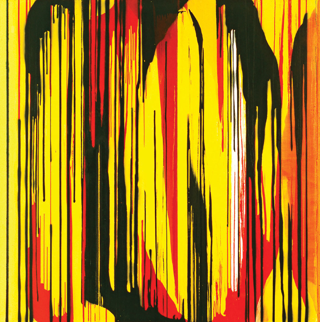 "Jacqueline Humphries, Sunset (Yellow), 1996, oil and spray paint on linen, 72 × 72""."
