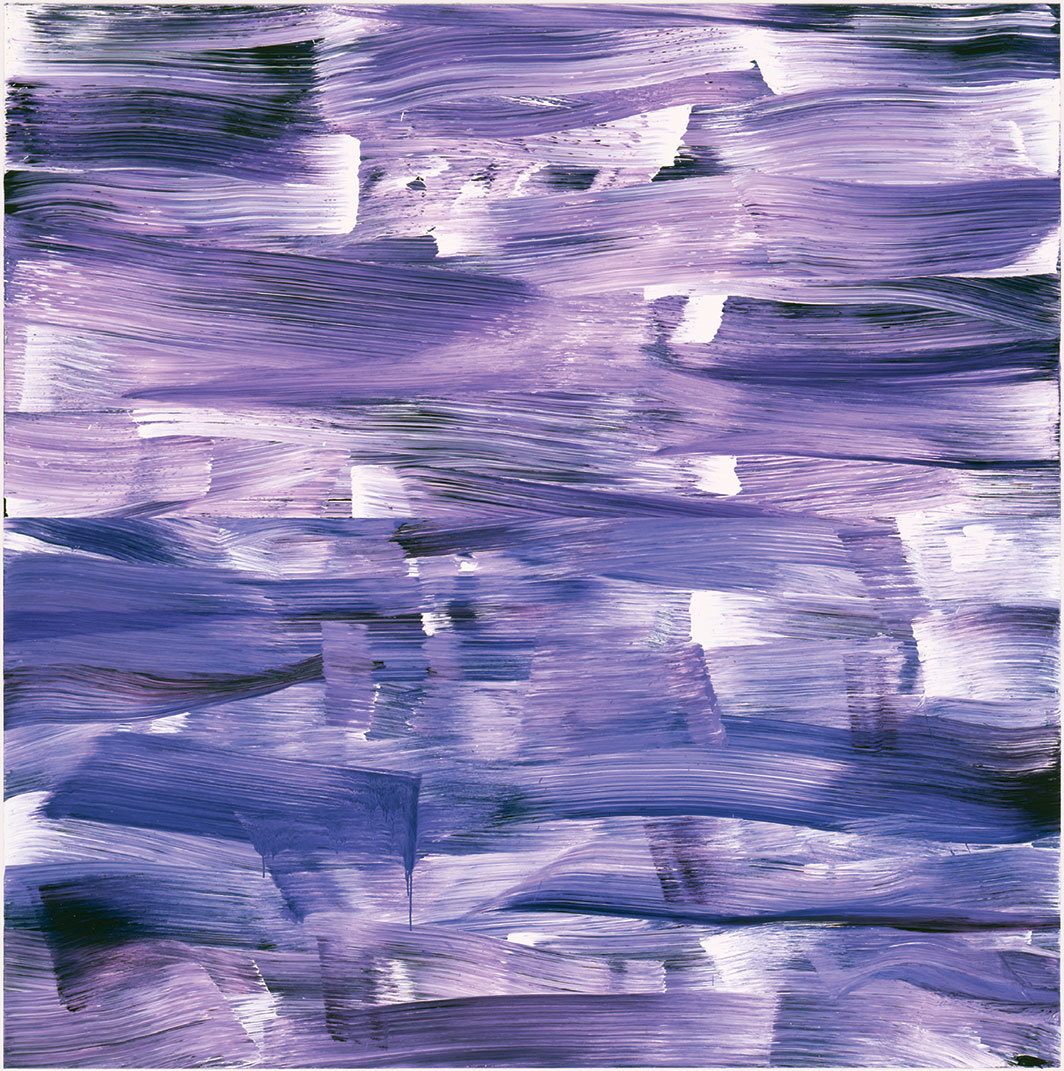 "Jacqueline Humphries, Hor. #6, 1997, oil on linen, 90 × 90""."