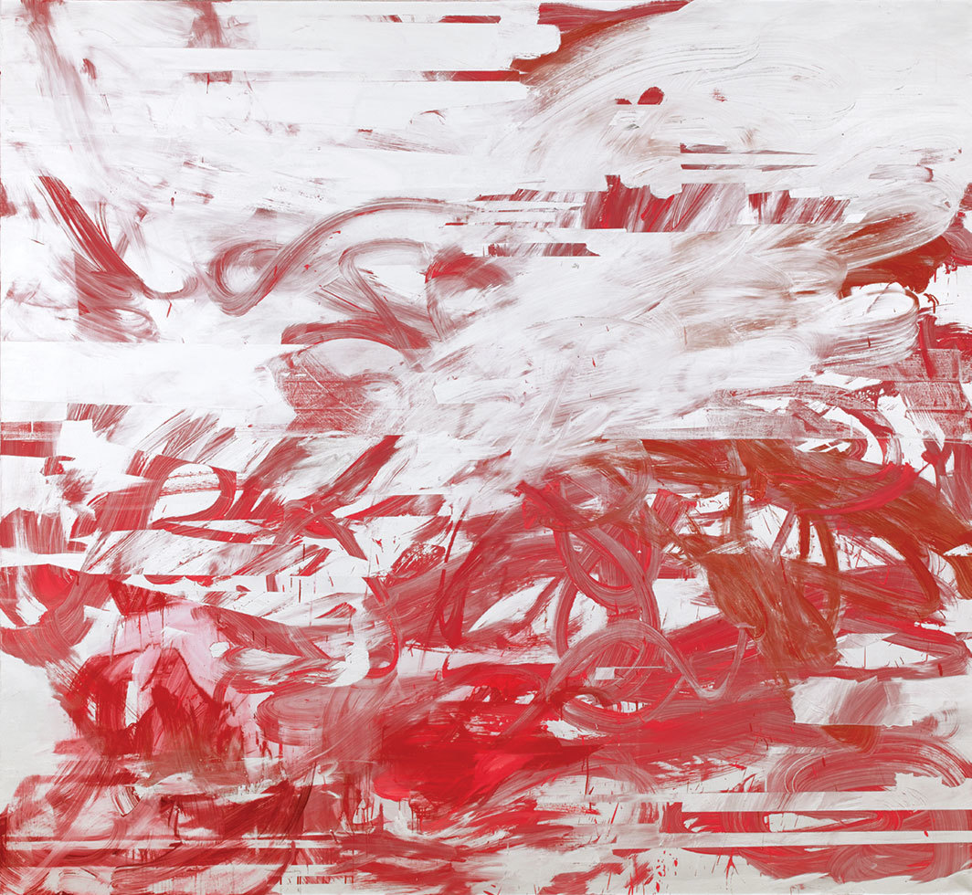 "Jacqueline Humphries, Haymaker, 2006, oil on linen, 80 × 86""."
