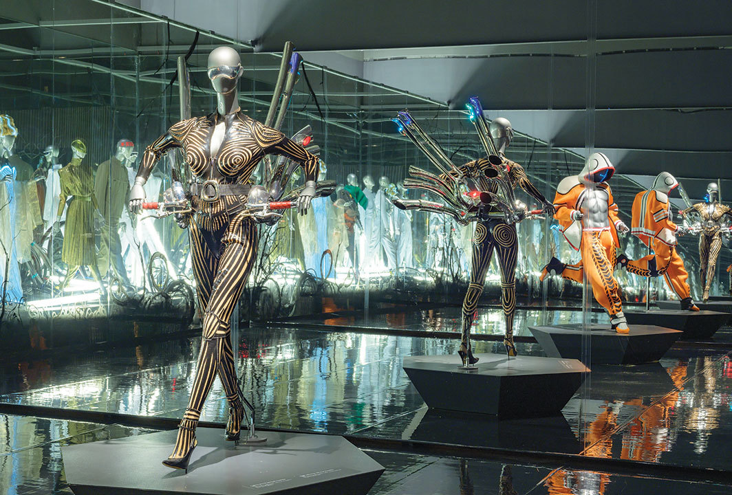 "View of ""Thierry Mugler: Couturissime,"" 2019. Foreground: Zumanity stage costume, 2003. Background: The Wyld stage costume, 2014."