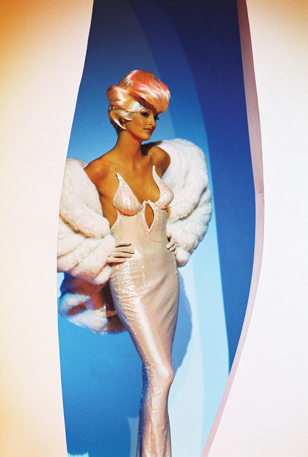 "Linda Evanglista in a Thierry Mugler look for George Michael's ""Too Funky"" music video, 1992. Photo: Patrice Stable."