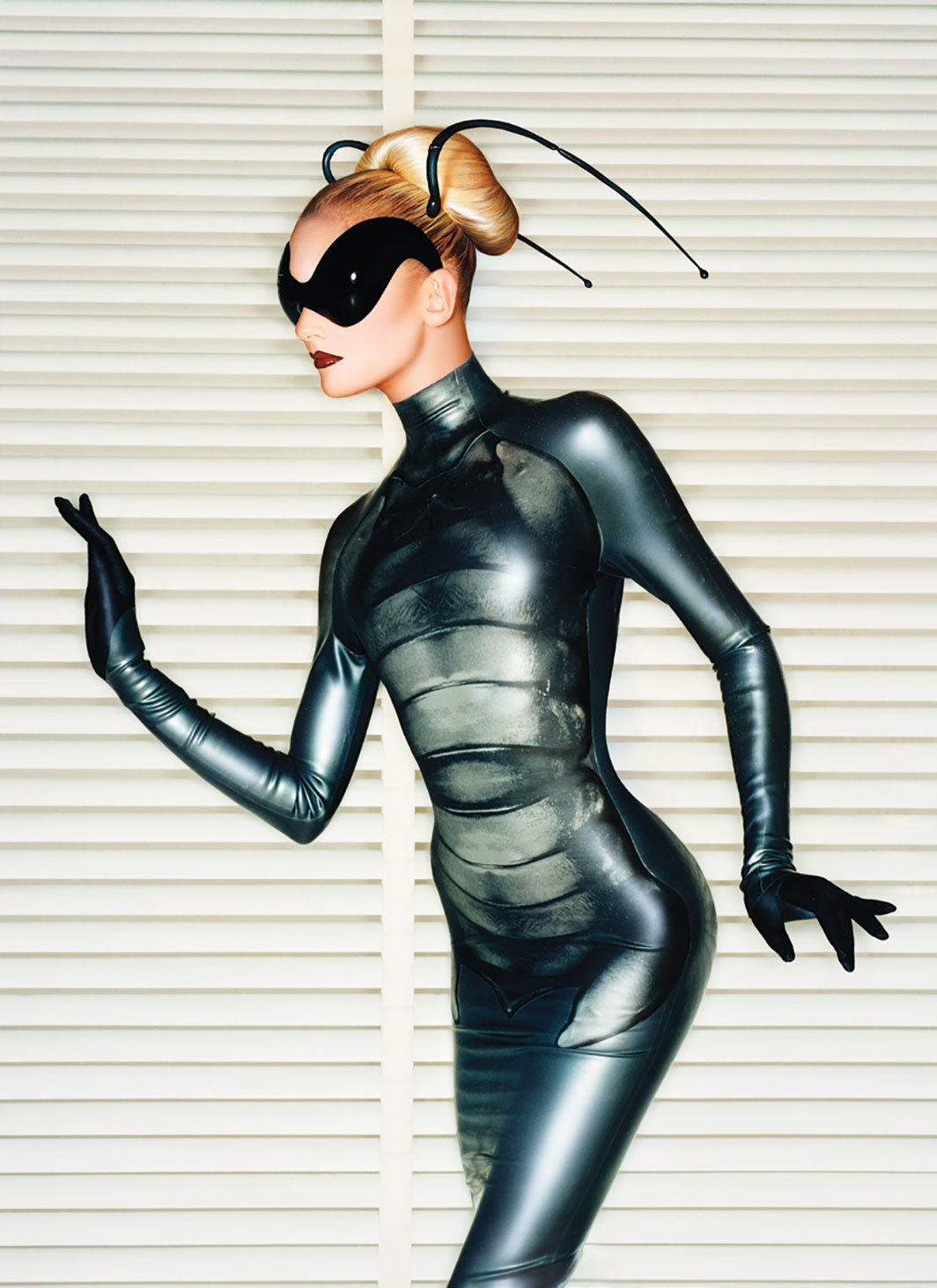"Look from Thierry Mugler's Spring/Summer 1997 ""Les Insectes"" collection. Photo: Brad Branson and Fritz Kok."