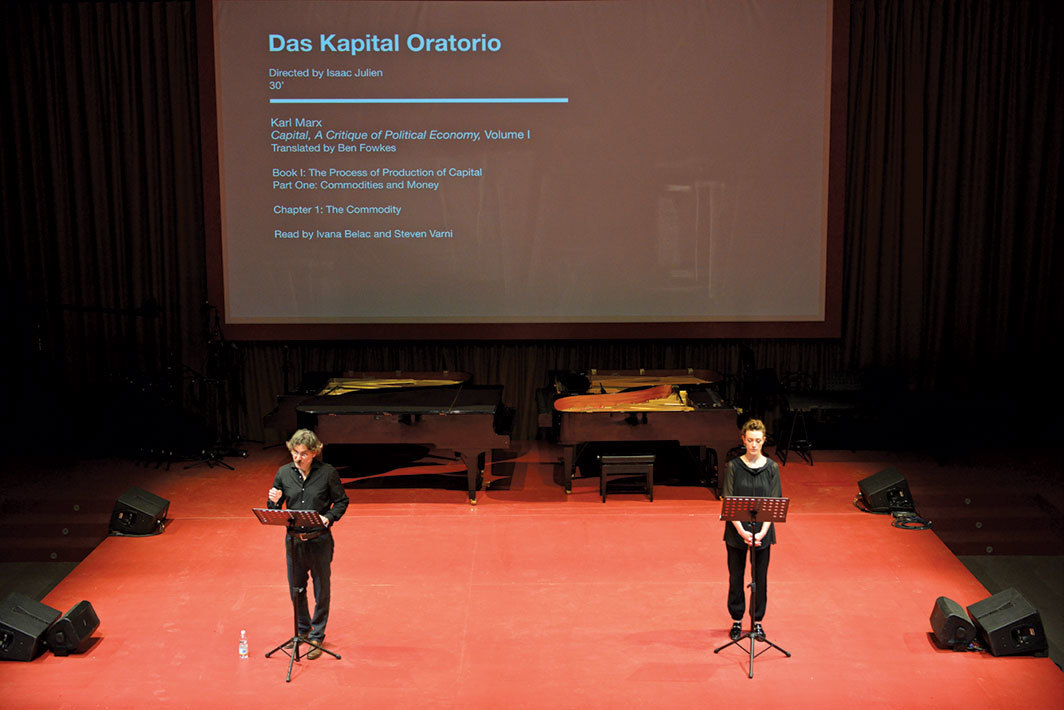 Isaac Julien in collaboration with Mark Nash, Das Kapital Oratorio, 2015. Performance view, Arena, Central Pavilion, Venice, May 8. From the 56th Venice Biennale. Photo: Andrea Avezzù.