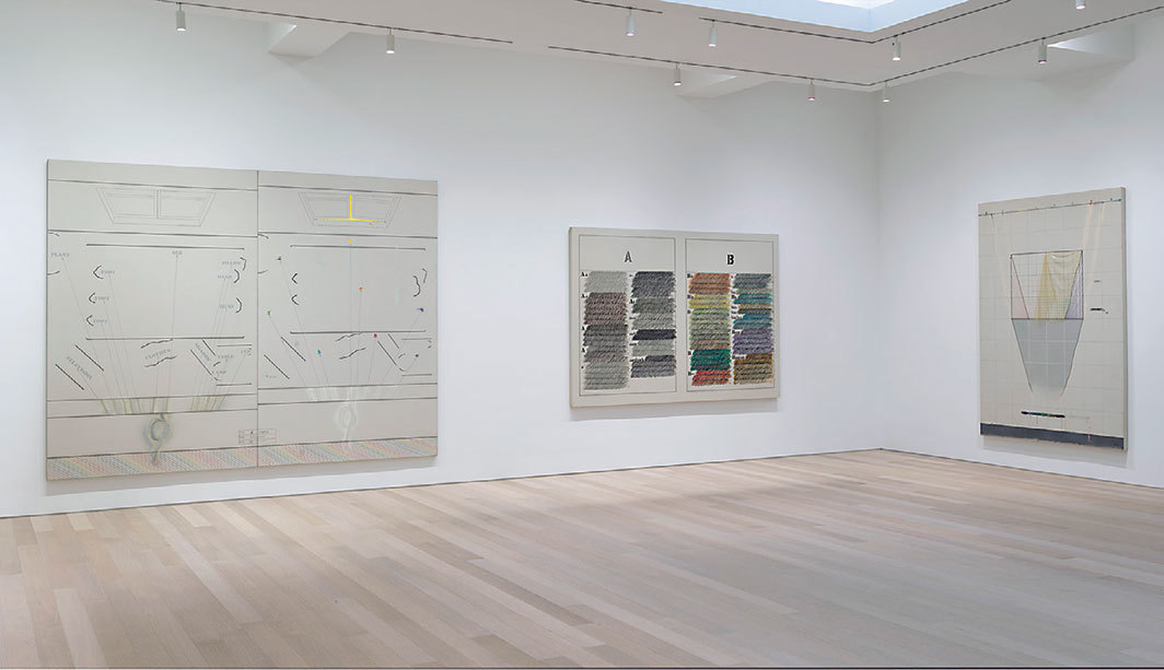 "View of ""Arakawa,"" 2019. From left: A Couple, 1966–67; Untitled (Webster Dictionary A & B), 1965; The Communicating Vases, 1964–65. Photo: Rob McKeever."