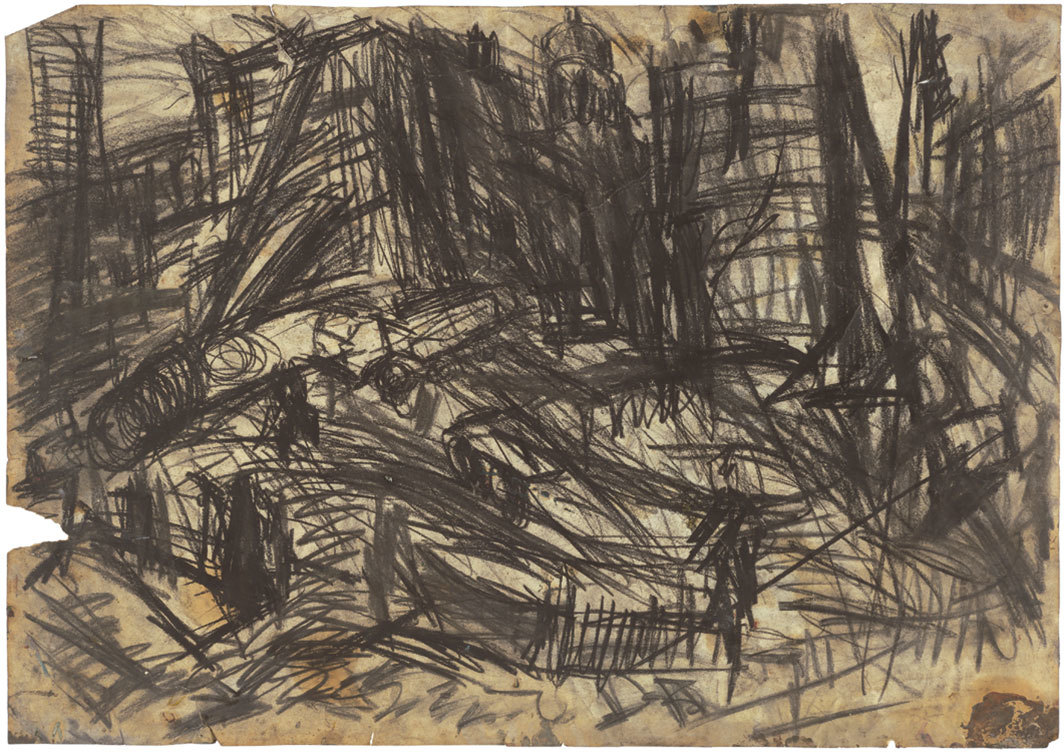 "Leon Kossoff, Demolition of YMCA Building No. 2, 1970, charcoal on paper, 23 1⁄4 × 33 1⁄8""."