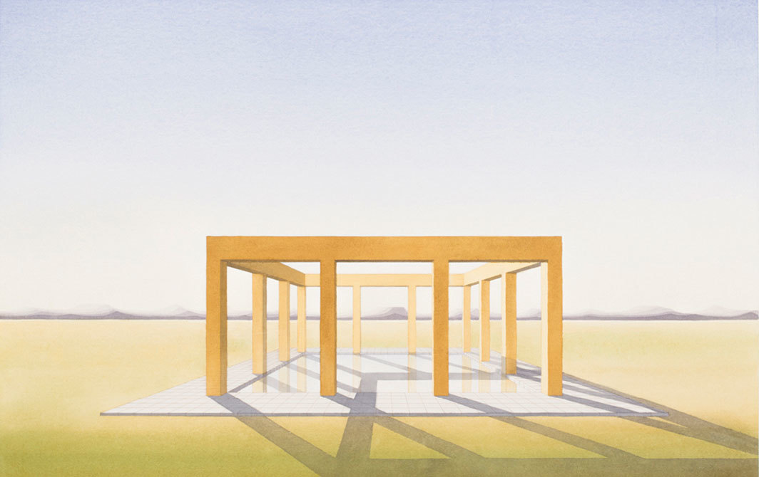 "Lauretta Vinciarelli, Water Enclosure in Landscape, 1986, watercolor on paper, 22 1⁄8 × 29 7⁄8""."